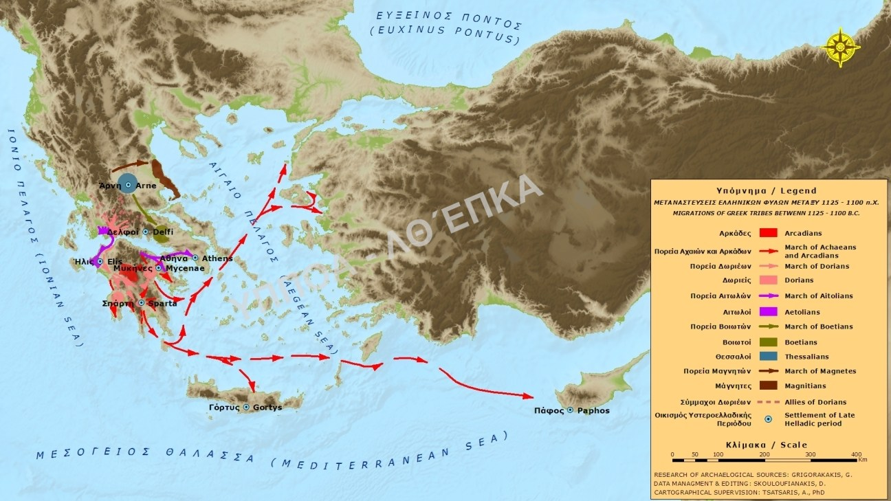 The expansion of Greek tribes in prehistoric times